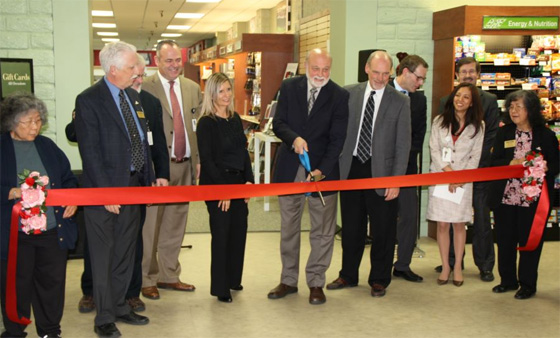 Dignitaries attending The Campus Store at Loma Linda University bookstore grand opening include (from L to R) Phil Carlisle, Dr. Ron Carter, Rod Neal, Denise Nakakihara, Dr. Richard Hart, Kevin Lang, Russell Markman, Angela Lalas and Gary Nelson.