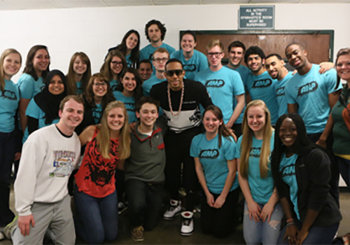 Grammy Award winner Ludacris poses with William & Mary students over Charter Day weekend. The rap artist was on the Williamsburg campus to perform in the school's Charter Day concert.