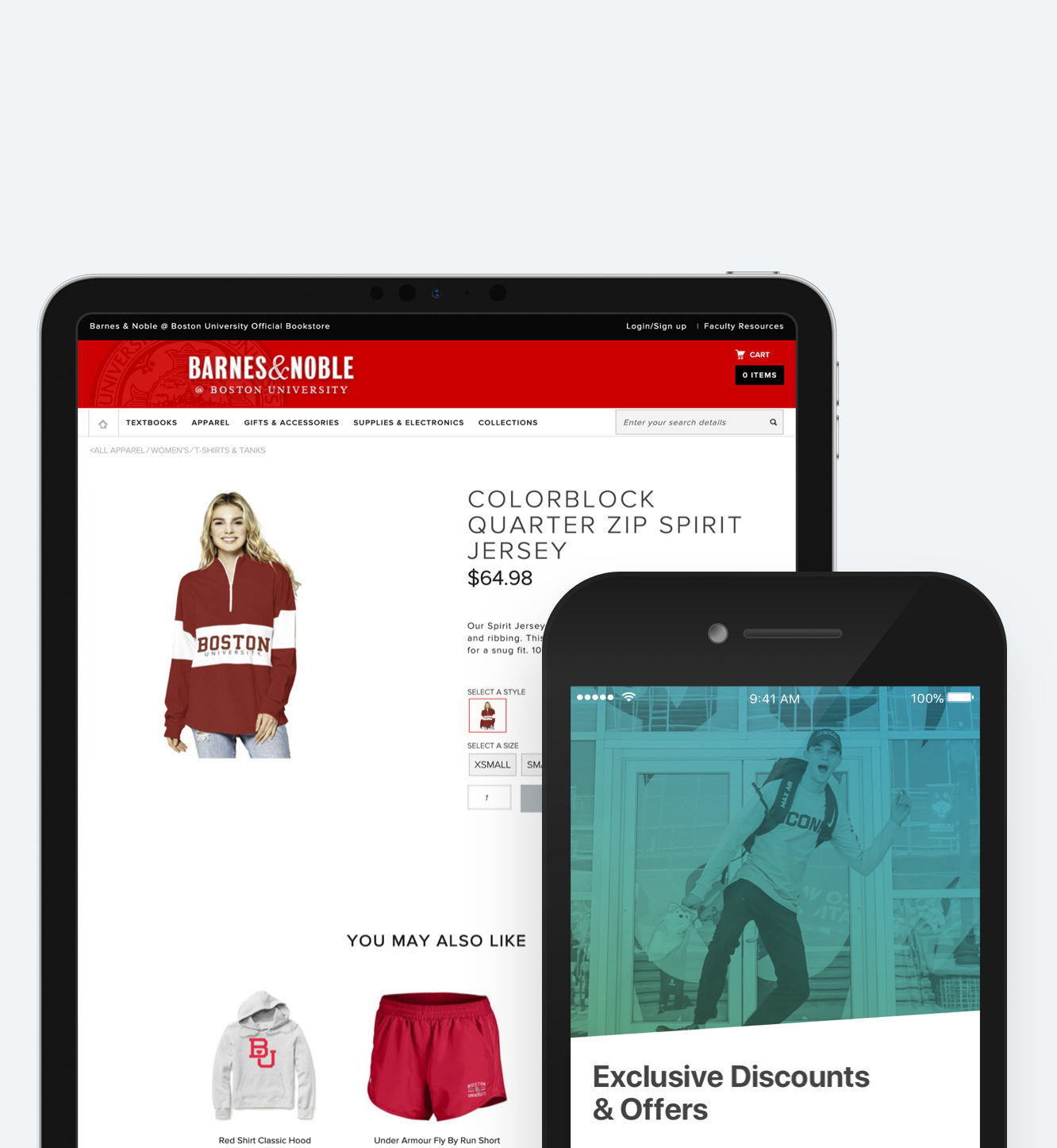 Barnes & Noble retail bookstore website shown on table and mobile devices