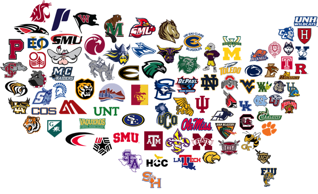 US Map filled with College Logos